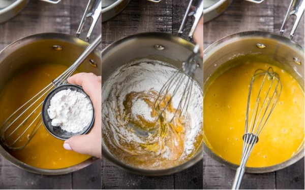 How to add flour to mixture and mix with whisk until smooth.