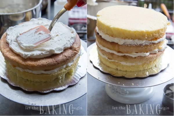 Covering all the layers with the sweet Chantilly cream.