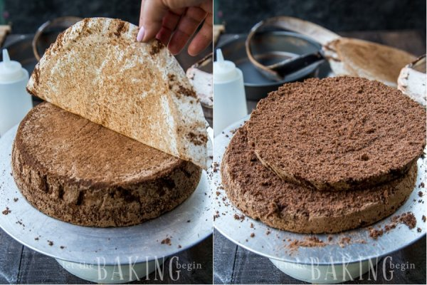 Cutting the chocolate poppyseed sponge cake into two even layers.