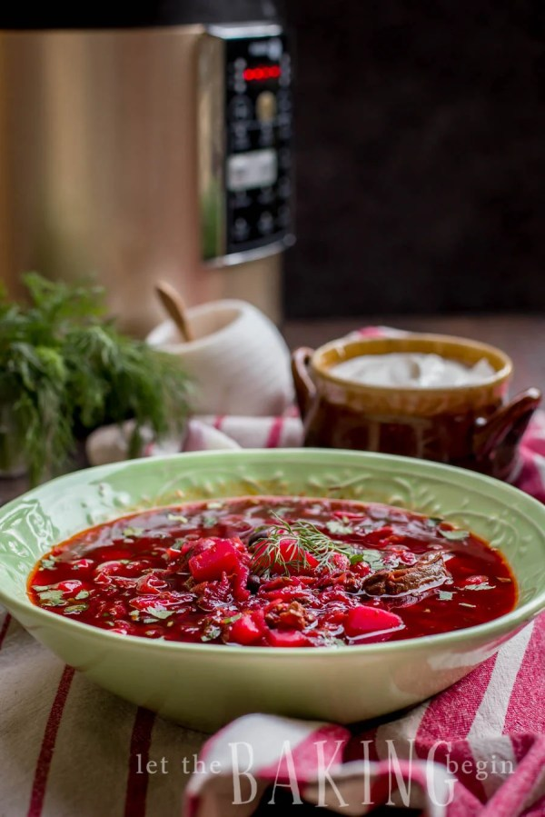 Borscht - Beef and Beet Soup is a traditional Ukrainian soup that is hearty, healthy and delicious! | By Let the Baking Begin!