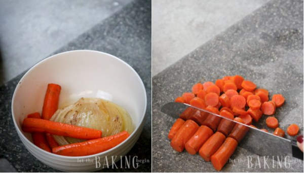 Chopping the cooked carrots from an Instant Pot chicken noodle soup