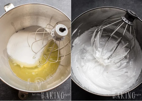 Preparation of Meringue - combine egg whites and sugar, then whip until fluffy.