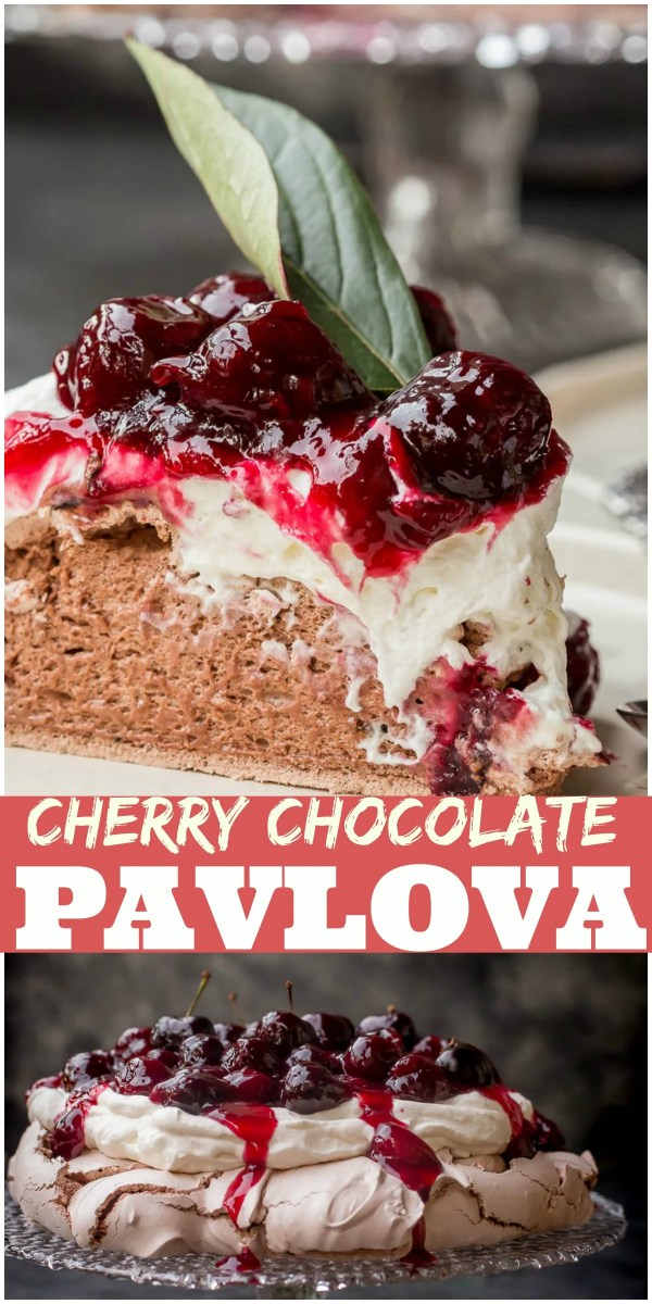 Chocolate Cherry Pavlova is a meringue dessert that's made of crispy on the outside and soft and fluffy as a cloud inside meringue disk, which is then topped with whipped cream and cherry sauce.