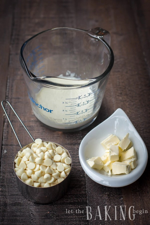 White Chocolate Ganache is made with just a few simple ingredients. The flavor is clean but luscious. Use it to fill macarons, cakes, cookies or even cupcakes.