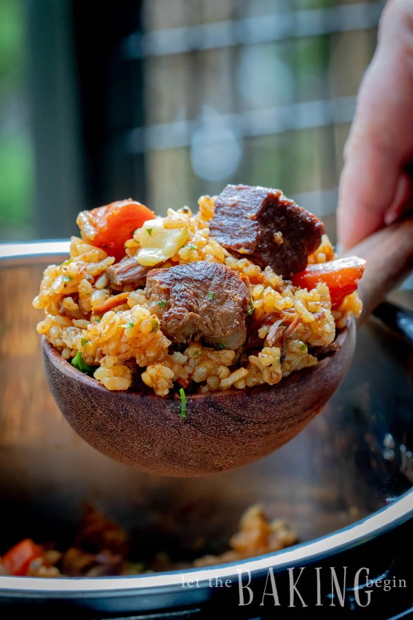 Instant Pot Beef Rice Pilaf or Plov is a hearty one-pot meal that's very easy to make and super delicious. The rice is well infused with the flavor of beef and spices and makes the best rice you will ever have!