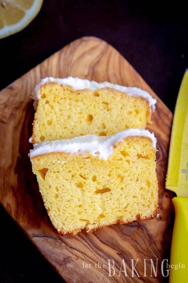 Starbucks Lemon Loaf Cake, a copycat recipe of a lemon loaf topped with a lemon glaze.