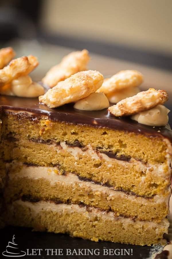 Layered Pumpkin Cake with Cream Cheese buttercream and Chocolate