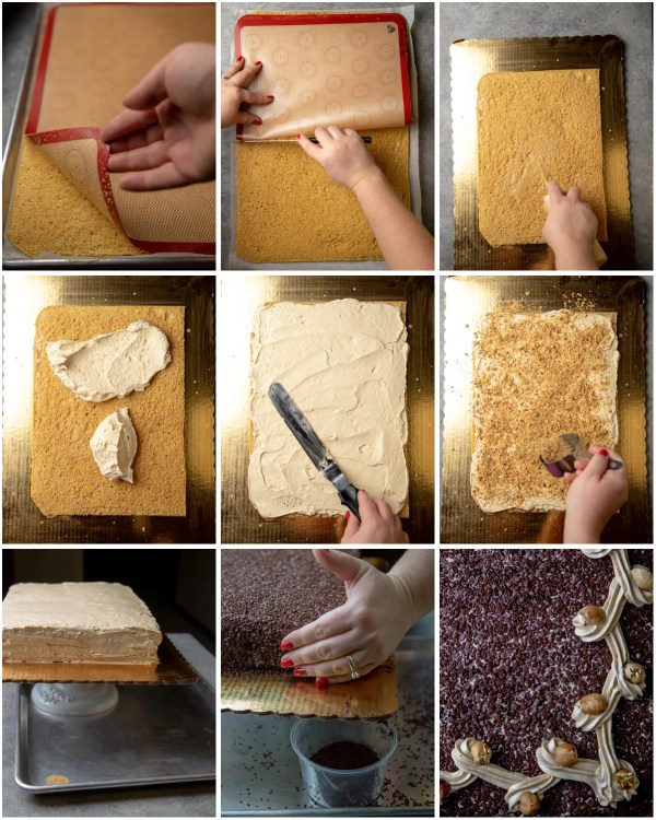 Visual step by step directions for how to assemble a layered dulce de leche cake.