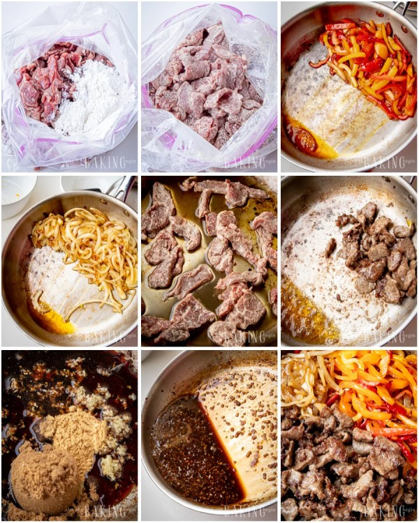 Step by step visual instructions showing how to make Mongolian beef.