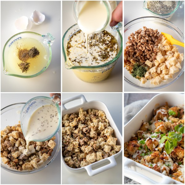Visual step by step directions to make a stuffing recipe.
