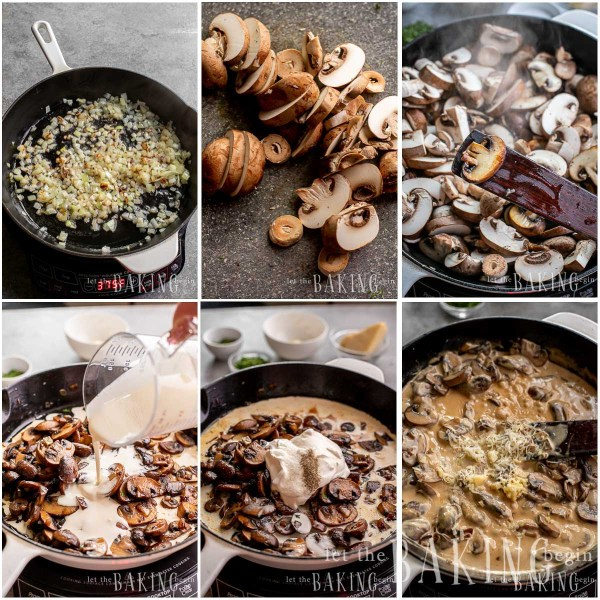 Visual step by step directions for making creamy mushroom sauce.