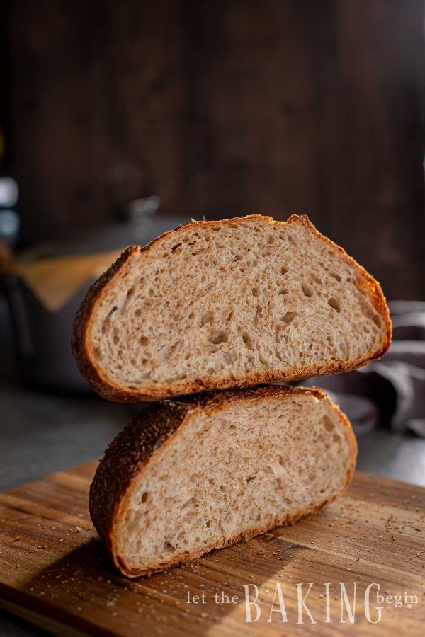 No knead artisan bread cut in half and stacked together