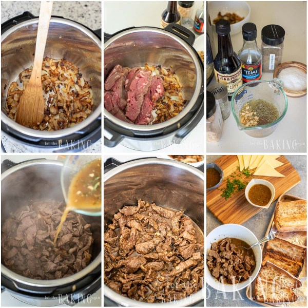 Visual step by step directions for making a French dip sandwich from scratch