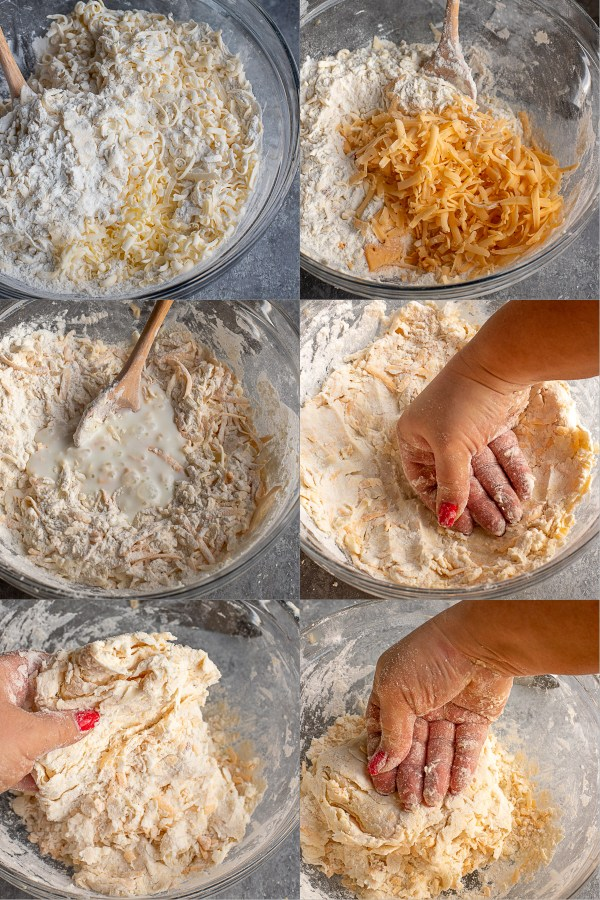 Step by step directions for making cheddar biscuits