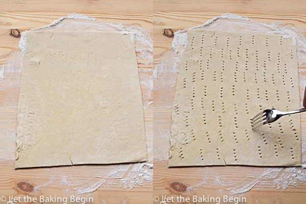 How to lay out puff pastry and poke the sheet with a fork.