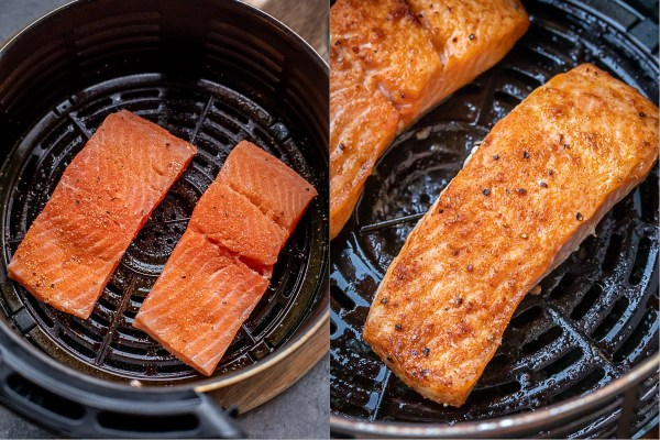 Before and after process shots of cooking the salmon in the air fryer.