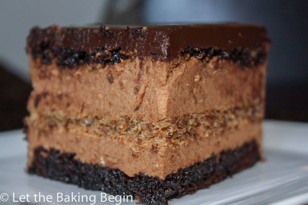 Chocolate Cake with Irish Cream Mousse - fudge like chocolate base, that is soaked with cinnamon syrup, then it's topped with Irish Cream infused chocolate mouse and chocolate ganache.| by Let the Baking Begin!