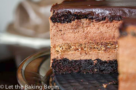 Chocolate Cake with Irish Cream Mousse - fudge like chocolate base, that is soaked with cinnamon syrup, then it's topped with Irish Cream infused chocolate mouse and chocolate ganache.  by Let the Baking Begin!