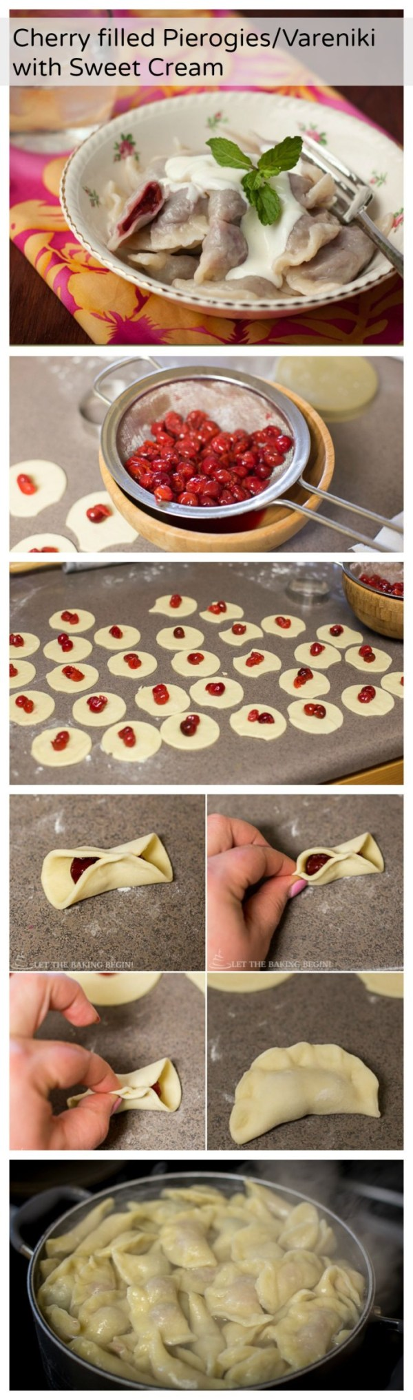Cherry Pierogies/Vareniki with Sweet Cream - authentic, sweet and delicious these bring me back right to my childhood!