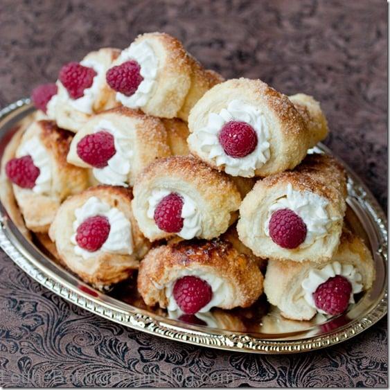 Puff Pastry Cream Horns with Luscious White Cream and Raspberries {Letthebakingbeginblog.com{