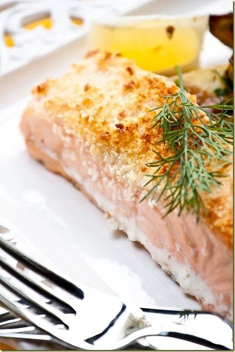 Parmesan crusted salmon let the baking begin for Temperature to bake fish