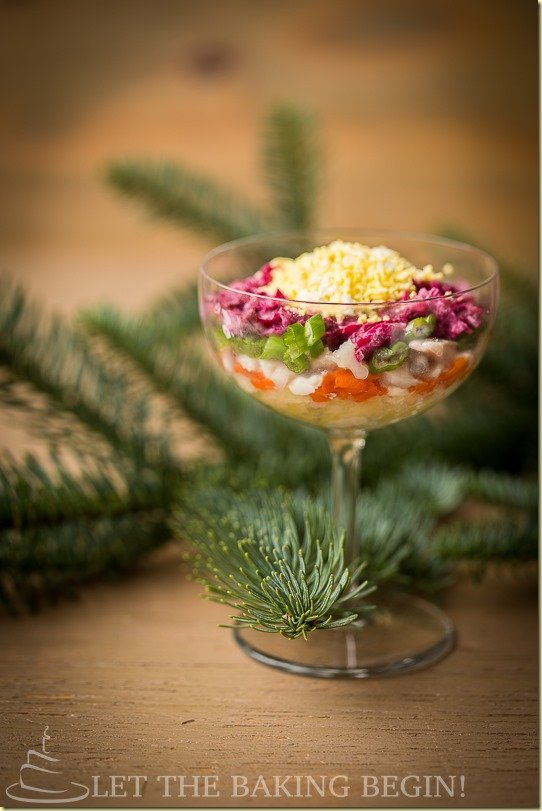 Layered vegetable & Fish Salad, a true Slavic Tradition!