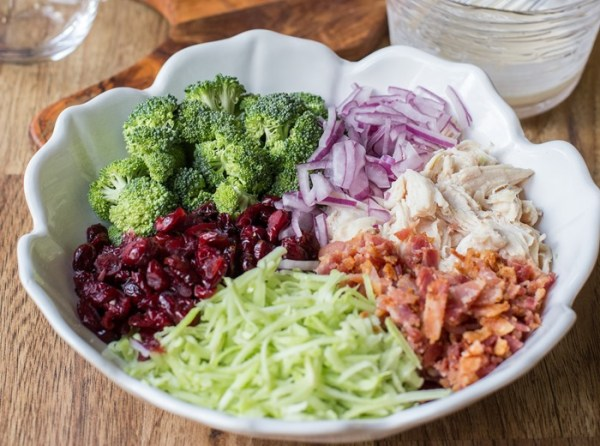 Broccoli Chicken Salad - Filled with flavor & nutrition this salad is great for lunch or dinner. Also, check out how you can use those stalky green broccoli stems. by LetTheBakingBeginBlog.com