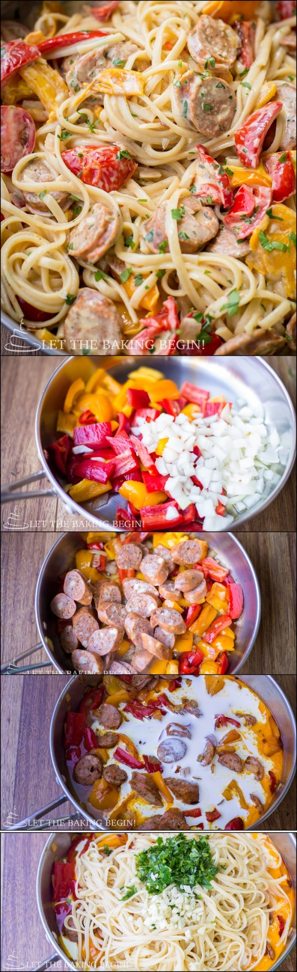 Quick & Delicious, Sausage Pepper Fettuccine Skillet is a Dinner That's Sure to Impress Your Family. by Let the Baking Begin Blog!