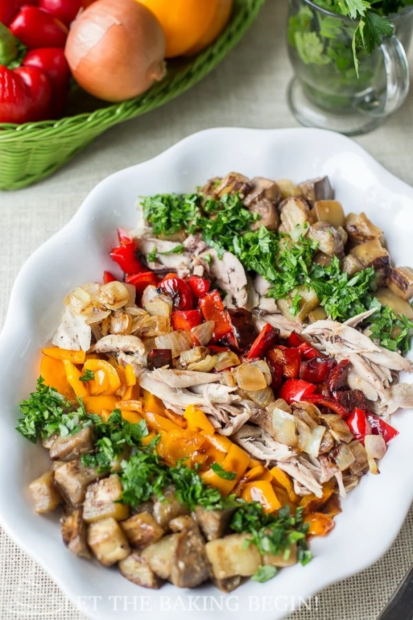 Harvest Chicken Salad - Colorful mosaic of colors on a plate, each bursting with flavor and nutrition. By LetTheBakingBeginBlog.com #vegetables #bell pepper #eggplant #chicken #salad #fall recipes #step-by-step pictures and instructions