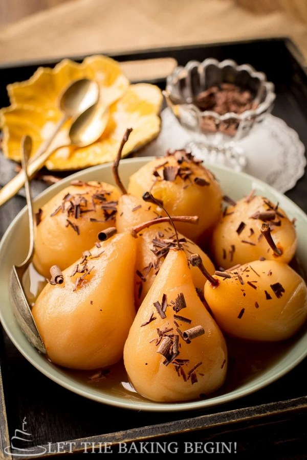 Amaretto Poached Pears with Chocolate Shavings - Simple, Low Calorie, Gluten Free Dessert that's Easy to Make and Super Delicious to Eat!  by Let the Baking Begin!  @letthebakingbgn