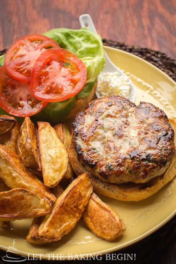 Chicken Feta Burger, homemade, delicious , and incredibly easy to make! by @Letthebakingbgn | LetTheBakingBeginBlog.com