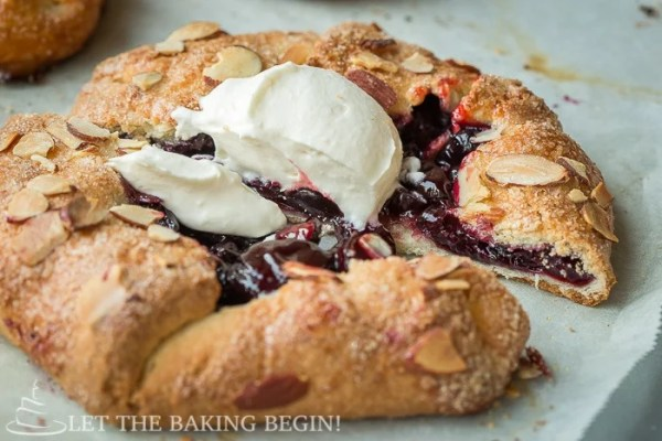 Cherry Galette with Homemade Whipped Cream and Almond Flakes is a perfect summer treat. |By LetTheBakingBeginBlog.com | @Letthebakingbgn