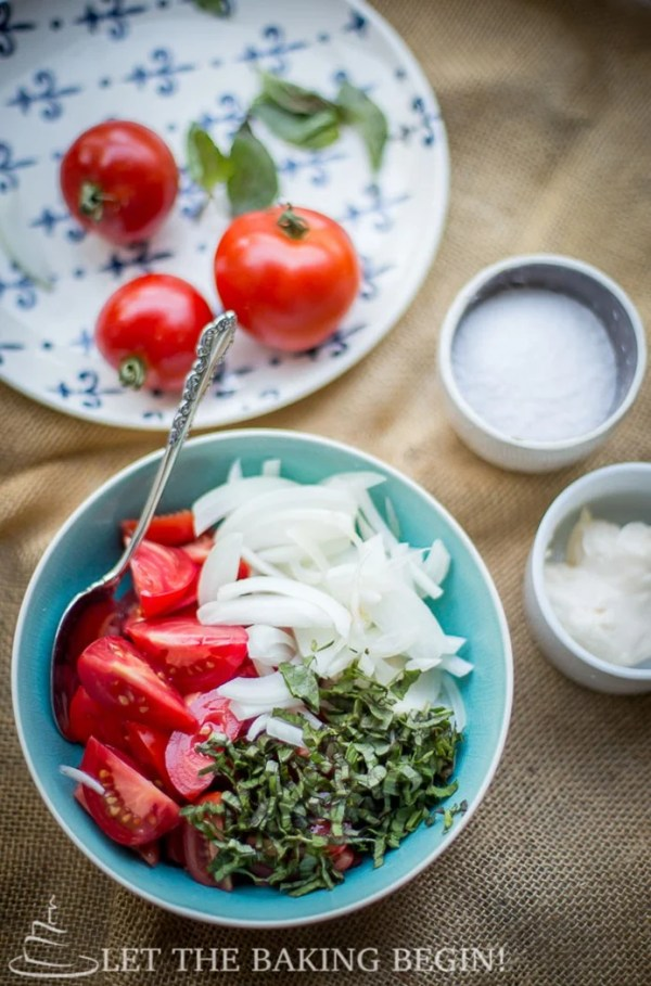 Creamy Tomato Basil and Sweet Onion Salad – best combination ever! by LetTheBakingBeginBlog.com | @Letthebakingbgn