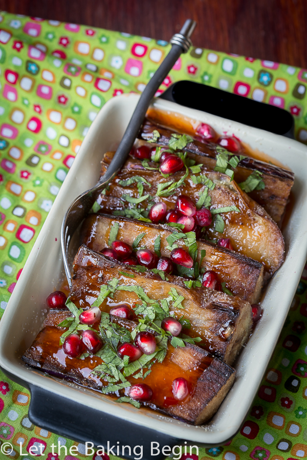 Sweet and Sour Garlicky Chinese Eggplant - Pan fried eggplant in a simple Sweet and Sour Garlic Sauce and herbs. | By Let the Baking Begin!