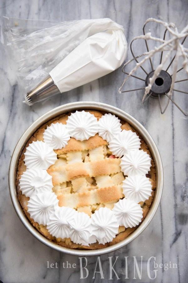 Apple Rhubarb Meringue Pirog - Lightly sweetened apples and rhubarb encased in tender shortbread pirog crust, topped with crisped up meringue | Let the Baking Begin!