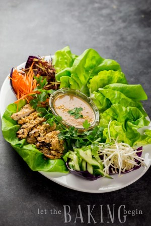 Thai Chicken Lettuce Wraps and Peanut Sauce - Perfect as a Light Dinner or a Fancy Appetizer. The Peanut Sauce can be used for Wraps, Salads and even Thai style pasta.