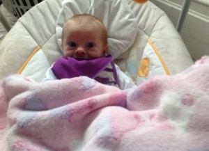 Wearing her purple FG bib