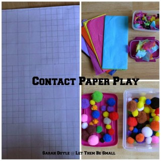 tissue paper, pompoms, contact paper