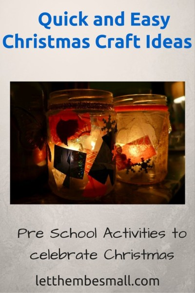 Christmas crafts for toddler - includes christmas tree craft and a fab jam jar candle