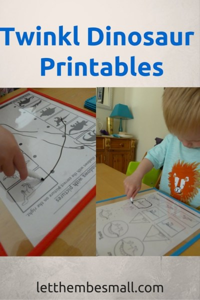 links to a wide range of pre school dinosaur themed printables