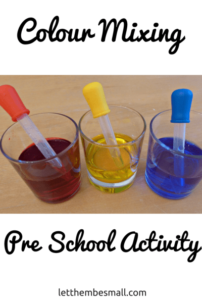 a super simple but effective colour mixing experiment for pre schoolers using items you have handy at home