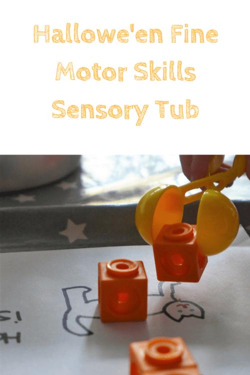 halloween fine motor skills sensory tub