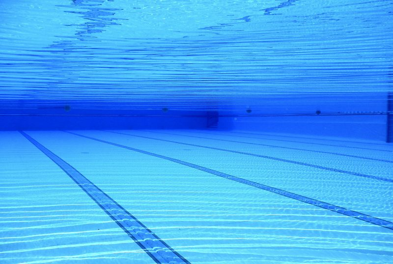 underwater in a swimming pool - blue water