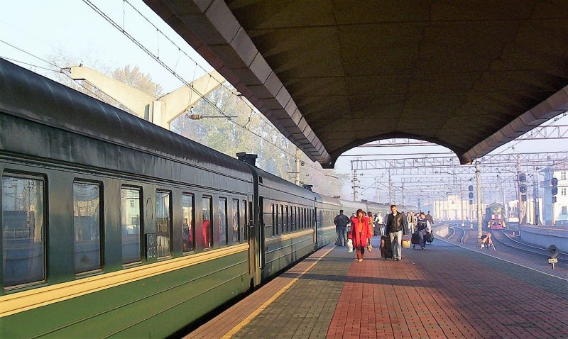 Russian train at station