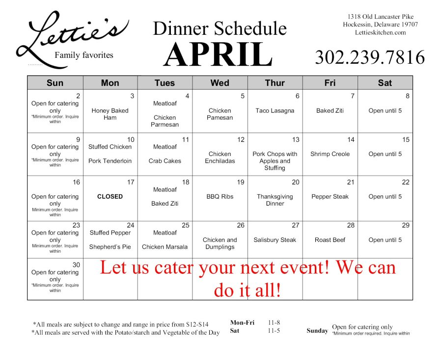 April Dinner Schedule 2017