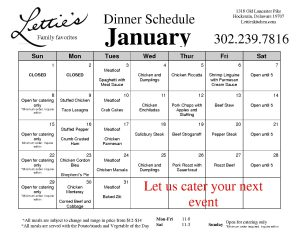January Dinner Schedule 2017
