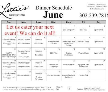 June Dinner Schedule 2017