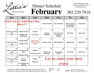 February Dinner Schedule 2017