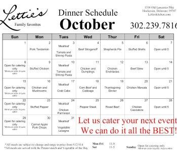 October Dinner Menu 2017