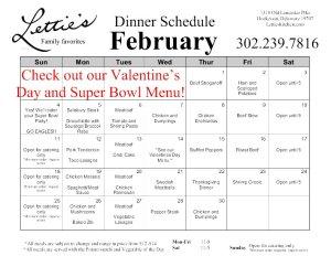 February Dinner Menu 2018